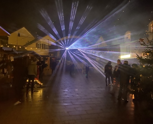 Weihnachtszauber 2019 Eröffnung Lasershow von Kibosound Veranstaltungstechnik