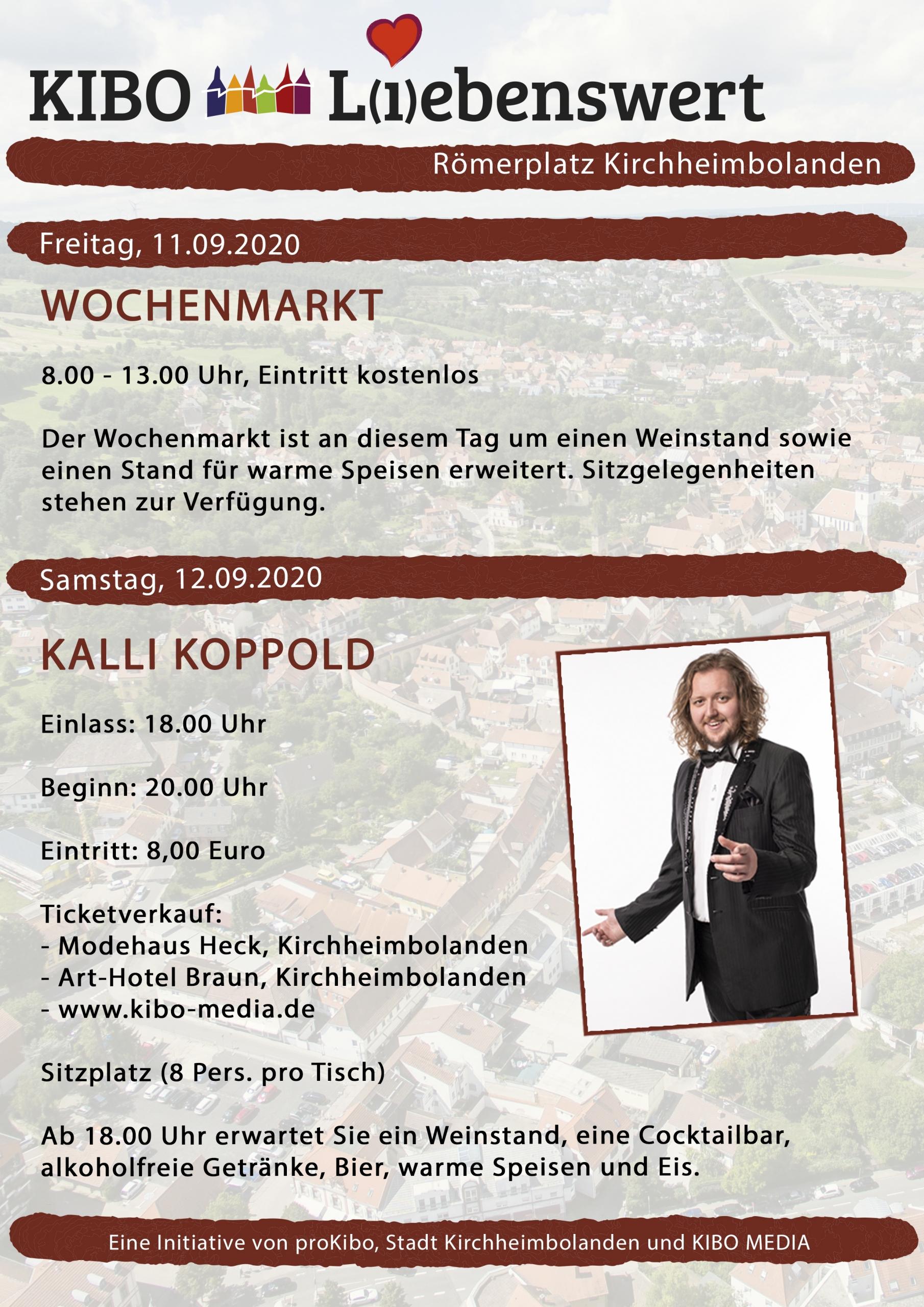 Veranstaltungen Flyer KIBO Liebenswert auf dem Römerplatz in Kirchheimbolanden am 12.09.2020 mit Kalli Koppold präsentiert von proKIBO e.V.