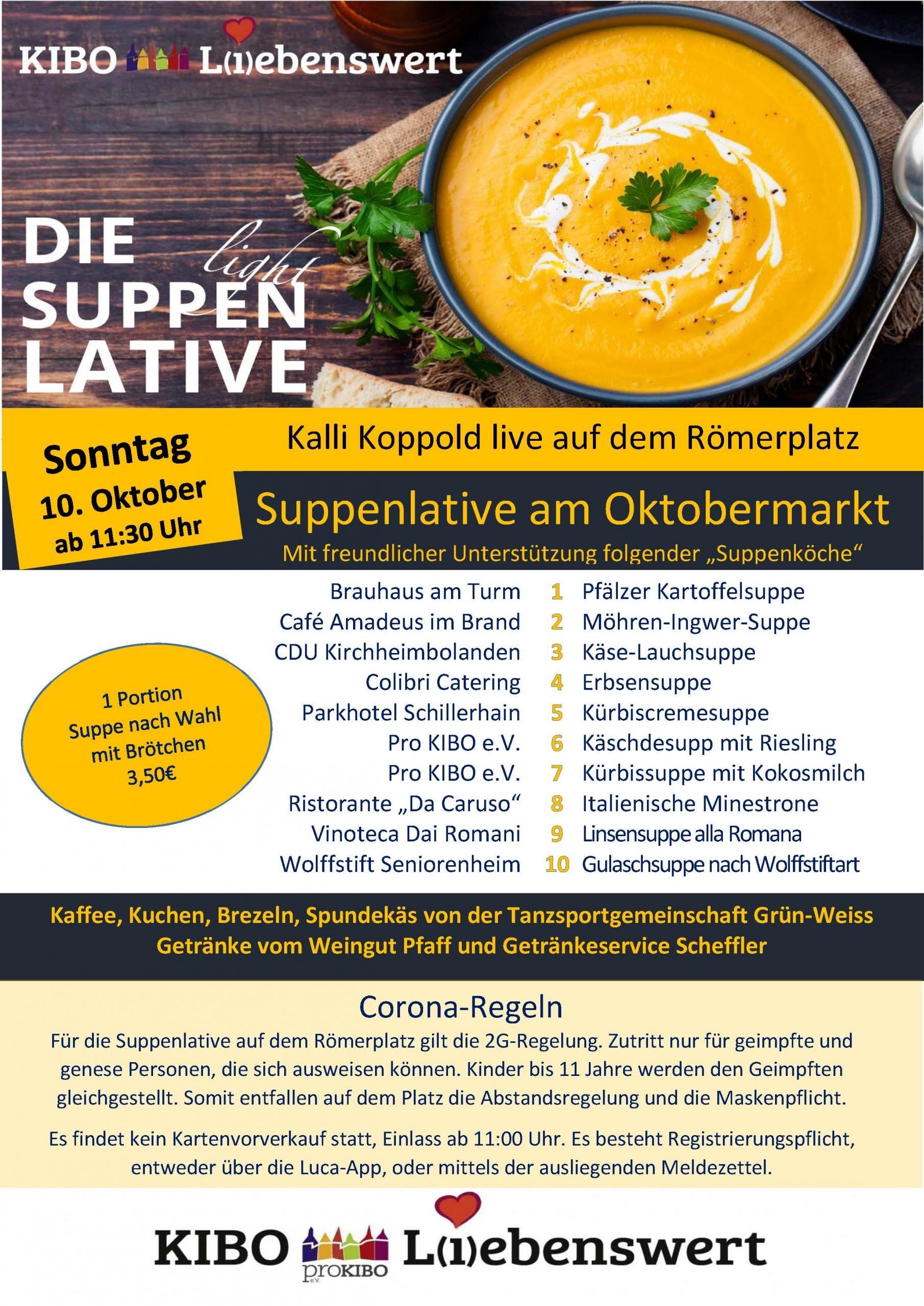 KIBO Liebenswert der Oktobermarkt 2021 - Suppenlative am 10.10.2021 in Kirchheimbolanden auf dem Römerplatz präsentiert von proKIBO e.V.